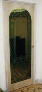 Miroir grav' sur porte